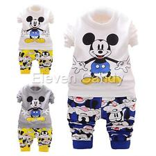 Baby Infant Boy Mickey Mouse Tops+Pants Toddler Kid Shirt Cotton Clothes Outfits