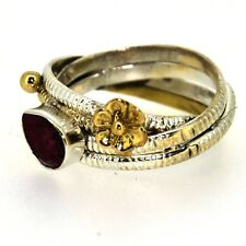 Royal Looking Ruby Gemstone Solid 925 Sterling Silver Jewelry Ring Size 7 X4092