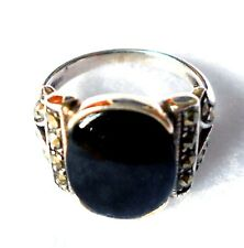 BLACK ONYX RING: Large Round ONYX Marcasite 925 Sterling Silver (SIZE 6)