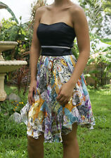 NEW Black Silk Bandeau & Printed Skirt Sweetheart Strapless Cocktail Dress