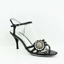 WOMENS LADIES STRAPPY SLING BACKS MID HIGH HEEL COURT SHOES SANDALS SIZE 3-8