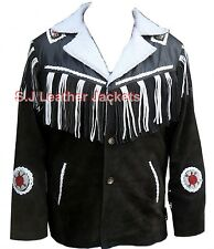 Men's Western Cowboy Suede / Real Leather High Quality Jacket Xs-5xl