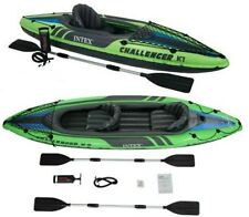 Inflatable Kayak 1 & 2 Person Green Canoe Boat Intex Challenger  Extreme Sports
