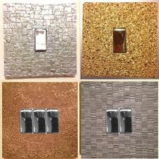 METALLIC GLITTER LIGHT SWITCH COVER - EASY-FIT SELF ADHESIVE - STONE BRICK WEAVE