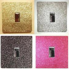 METALLIC GLITTER LIGHT SWITCH COVER - EASY-FIT SELF ADHESIVE - LUXURY FASHION