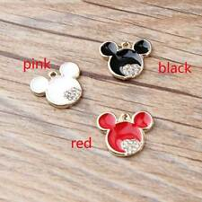 10/90PCS Gold Tone Enamel Mickey Rhinestone Charm Pendant Jewelry DIY Making Hot