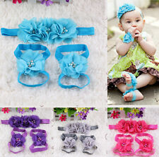 Chiffon Rhinestone Headdress Flower Kid Baby/Girl Headband Wrist Foot Flower Set