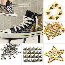 100pcs Leathercraft Square Pyramid Rivet Metal Studs Spots Spikes Silver/Gold