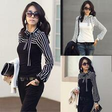 Women Ladies Bowknot Neck Long Sleeve Striped Slim Casual Shirt Top Blouse S-XL
