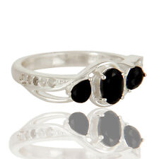Natural Black Onyx White Topaz 925 Sterling Silver Gemstone Ring Jewelry
