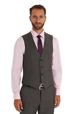 Moss 1851 Mens Tailored Fit Grey Suit Waistcoat Wedding Prom Dinner Formal