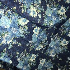1 MTR BLUE FLORAL 4 WAY LYCRA STRETCH FABRIC...60