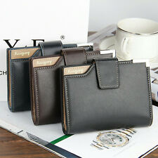 Mens Leather credit/ID Card holder Clutch Trifold Wallet Coin Purse Cash Pockets