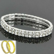 Crystal Rhinestone Stretch Bracelet Bangle Wedding Bridal Wristband Women 2 rows