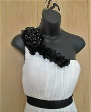 S A L E........JANE NORMAN..size uk 10 .Ivory and Black one shoulder style dress