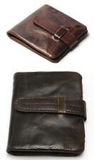 Wallet Genuine Cowhide Oil Wax Leather Men Bifold Purse Coin Pocket Zipper