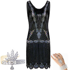 Vintage Women's 1920s Flapper Dress 20s Sequin Beaded Party Costume Size 8 12 18
