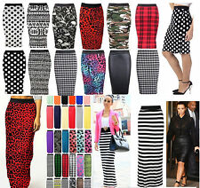NEW LADIES WOMENS MIDI BODYCON PENCIL PRINTED HIGH WAISTED TUBE SKIRT PLUS SIZES