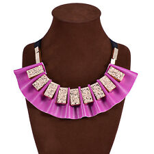 New Hot Fashion Punk Vintage Leather Statement Women Bib Choker Necklace
