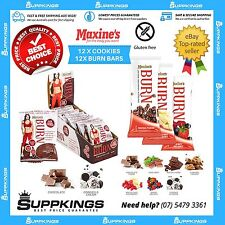MAXINE'S BURN PROTEIN BARS X 12 + BURN COOKIES X 12 PACK