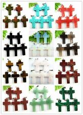5PCS Wholesale mixed color mixed material carved cross pendant bead