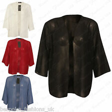 Ladies Women's Plus Size Chiffon Sheer See Through Baggy Shrug Cardigan Top