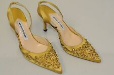 New MANOLO BLAHNIK Carolyne Crystal JEWELED Yellow Gold Satin Heels SHOES 37