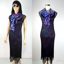 Womens Black Cocktail Maxi Dress Lindi Aria Purple Accordion Pleated Sheer S