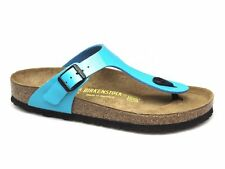 Birkenstock GIZEH Ladies Womens Summer Birko-Flor Toe Post Sandals Lack-Blue