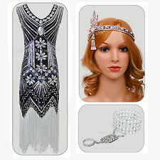 Vintage 1920s Flapper Dress Gatsby 20s Party Sequin Charleston Costume Size 4-18