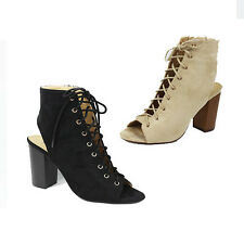 WOMENS LADIES HIGH BLOCK HEEL CUT OUT PEEP TOE LACE UP ANKLE BOOTS SHOES SIZE 3-