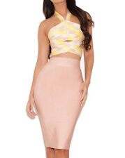 Nude and Lemon Cut Out Bandage Bodycon BRAND NEW Kim K Med/Large Kim Kardashian
