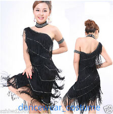 Ladies Party Ballroom Latin Tango Salsa Competition Dance Dress Fringe Skirt 7Co