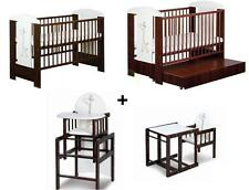 BABY CHILD FORNITURE SET: WOODEN COT + FREE MATTRESS 120x60 & 3 in 1 HIGH  CHAIR