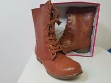 Rasolli Tan Synthetic Leather Zip-up And Lace Up Sexy Womens Combat Boots sz 9