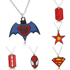 Fashion Charm Movie Superman Batman Dog Tag Pendant Necklace Men's Jewelry Chain