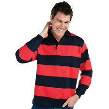 Mens Rugby Striped Contrast Shirt Top Polo Pullover Jumper Warm Red Navy New