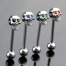 14  Stainless Steel CZ Gem Skull Silvery Tongue Barbell Ring Bar Body Piercing T