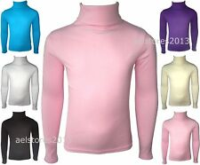Girls Kids Jumper Ribbed Polo Neck Childrens Tops New Childs Teen Baby 0-13 Yrs