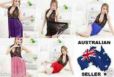 Women's Sexy Lace Halter Neck Lingerie Baby doll with G-string Aust size 10-12