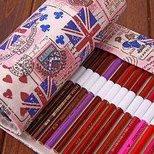 Roll Up 36/48/72 Slots Canvas Pen Pencil Bag Brush Case Drawing Sketching Flags