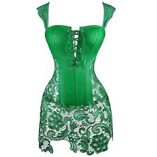 Women's Gothic Sexy Body Corset Top Steampunk Faux Leather Bustier Dress S-6XL