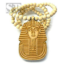 "New Hip Hop PHARAOH Good Quality Wood Pendant & 36"" Wooden Ball Chain Necklace"