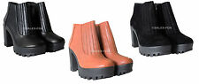 LADIES CHUNKY HIGH HEEL CLEATED SOLE BLOCK PLATFORM ZIP UP RIBBED ANKLE BOOTS