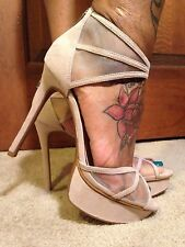 NWT-JESSICA SIMPSON BEIGE FABRIC ANKLE STRAP PLATFORM HEELS 8, 9-BEAUTIFUL!!
