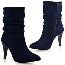 Ladies Womens High Heel Zip Up Mid Calf Slouch Faux Suede Riding Boots Shoe Size