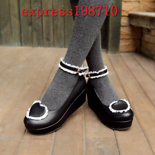 Women Cosplay Lolita Wedge Heels Mary Janes Roma Heart Lace Ankle Strap Shoes