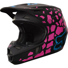 Fox Racing 2017 Girls Mx NEW V1 Grav Black Pink Youth Dirt Bike Motocross Helmet