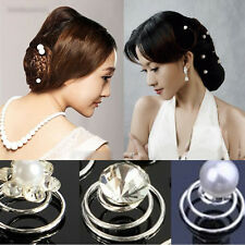 6/12x Bridal Wedding Prom Crystal Pearl Flower Hair Pins Swirl Spiral Twist Sale