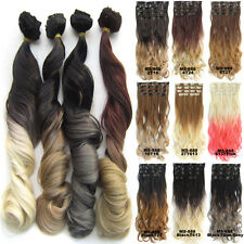 "7pcs/set 24"" Clip In Wavy Curly Ombre Hair Extensions Synthetic Hairpieces 100g"